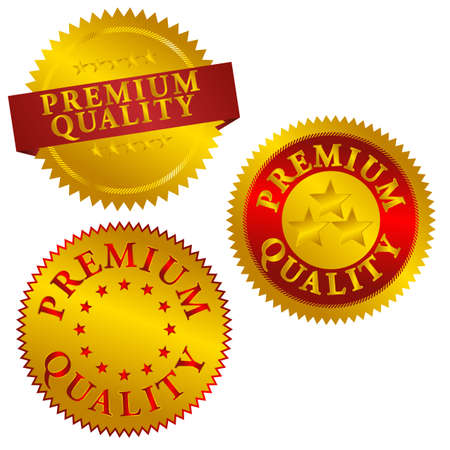 quality seal: Set of Golden Premium Quality Seals - Vector