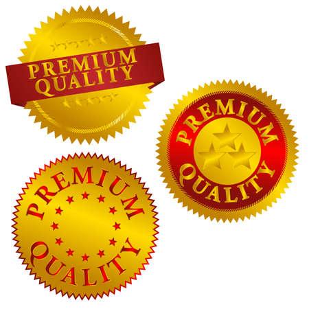 Set of Golden Premium Quality Seals - Vector