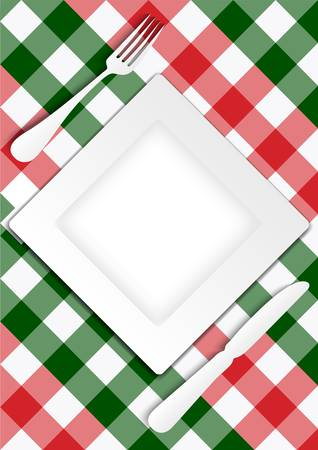 gingham: Menu Card Design - Red and Green Gingham Texture With Plate