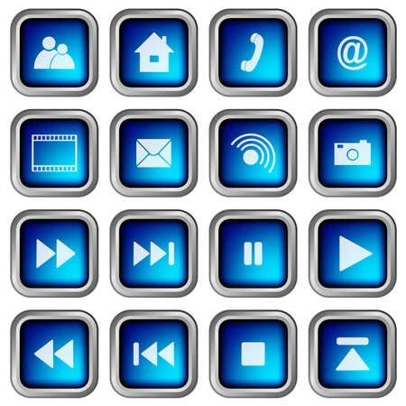 sig: Conjunto de azul moderno 3D cuadrados Web iconos Vectores