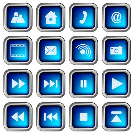 home button: Set of Blue Modern 3D Square Web Icons