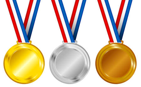 Set of Golden, Silver and Bronze Medals with Ribbons Vector