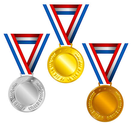 Set of Golden, Silver and Bronze Medals with Ribbons Stock Vector - 9519388