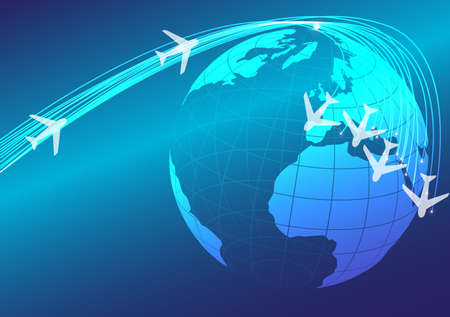 Abstract Background - Illustration of Globe and Flying Airplanes Vector