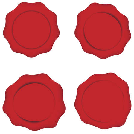 signet: Set of Red Wax Seals Isolated on White Illustration