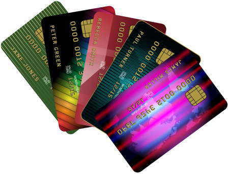 debit: Collection of Credit Cards Isolated on White