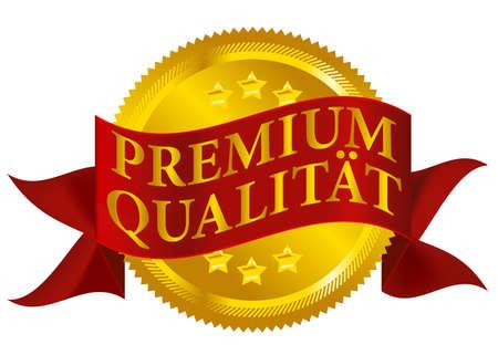 Rode en gouden Premiumkwaliteit Seal geïsoleerd op White - Duitse versie