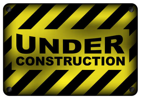 Illustration of  Vintage Under Construction Metal Sign Isolated on White Vector