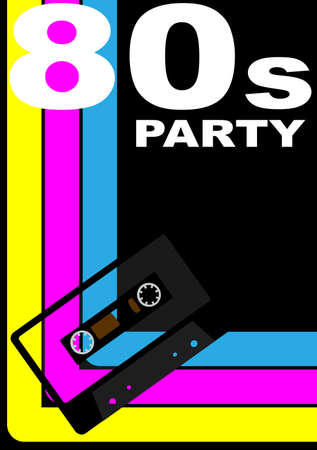 80s Party Design - Retro Audio Cassette Tape on Multicolor Background Vector