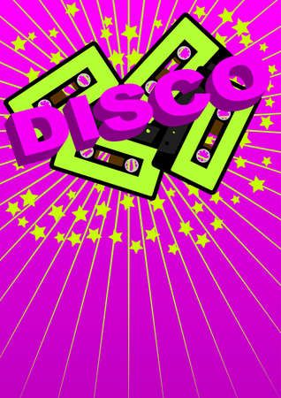 Retro Party Background - Audio Casette Tape and Disco Sign Vector