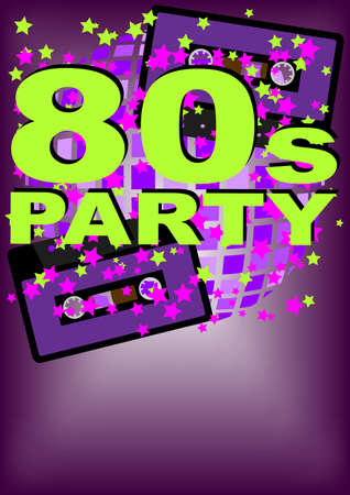 Retro Party Background - audio cassette tape on multicolor background Vector
