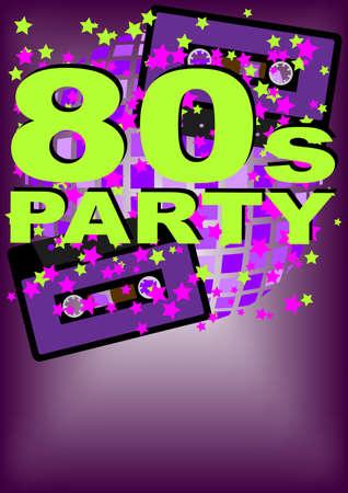 casette: Retro Party Background - audio cassette tape on multicolor background Illustration