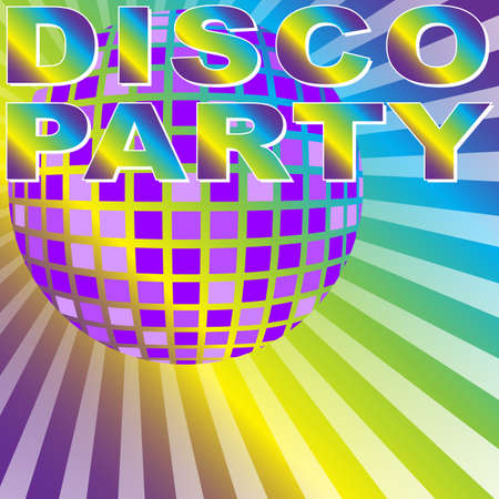 Retro Party Background - Disco Party Sign and Disco Ball on Multicolor Background - vector Vector