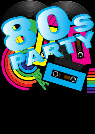 eighties: Abstract Background - Vintage Vinyl Records, Audio Tapes and 80s Party Sign
