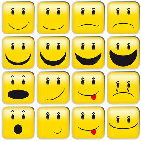 Set of Emoticons - Collection of Yellow Squared Smileys Vector