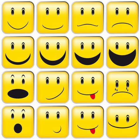Set van Emoticons - collectie van gele gekwadrateerde Smileys