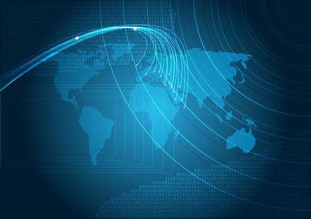 fibra �ptica: Tecnolog�a - fondo azul con el mapa del mundo