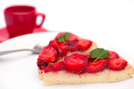Homemade Gluten Free Strawberry Pie With Jelly and Mint on White Plate - With Espresso Coffee in Background photo