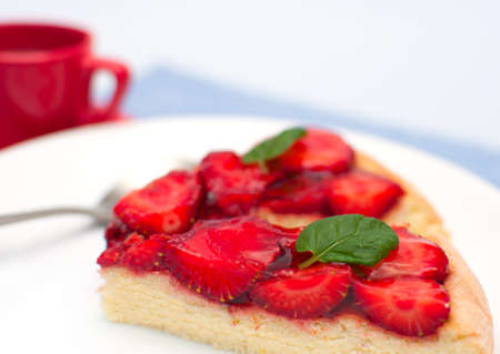 Homemade Gluten Free Strawberry Pie With Jelly and Mint on White Plate - With Espresso Coffee in Background Stock Photo - 9674777