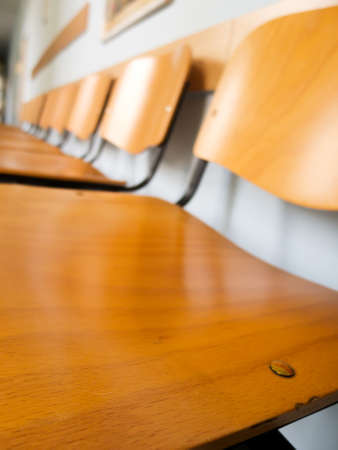 Wooden Chairs in the Waiting Room of Hospital Stock Photo - 9674785