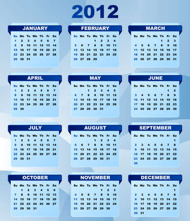 2012 Calendar With Abstract Blue Background Stock Vector - 9674808