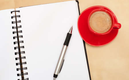 Espresso Coffee, Blank Paper Notebook and Ballpoint on Wooden Table Stock Photo - 9674810