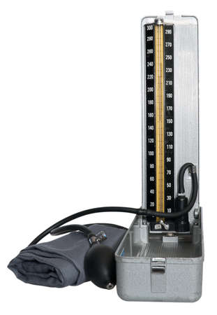 Rétro Tonomètre isolé sur fond blanc  Banque d'images