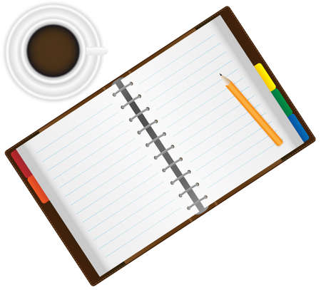 diary page: Open Organizer  Notebook With Pencil and Espresso Coffee