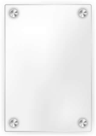 white plate: Blank Glass Frame on White Background