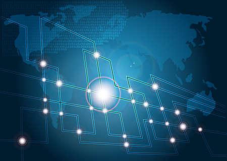 fibra: Sfondo tecnologia Blu - mappa del mondo e incandescente fibre ottiche Vettoriali