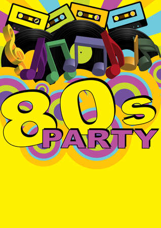 eighties: Retro Party Background - Audio Casette Tapes and Vinyl Records Illustration