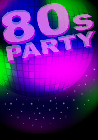 Party Background - Glowing Disco Ball and Sign Vector
