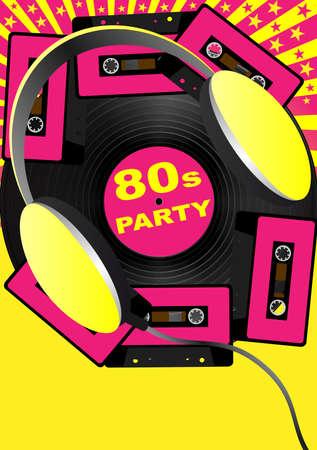Arrière-plan de parti rétro - Audio cassette cassettes et écouteurs
