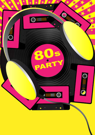 eighties: Retro Party Background - Audio Casette Tapes and Headphones