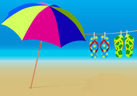 flip flops: Summer Background - Beach Umbrella and Hanging Flip-Flops on Empty Sandy Beach