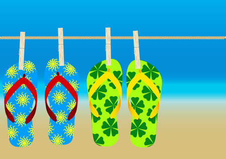 Summer Background - Hanging Flip-Flops on Empty Sandy Beach Stock Vector - 9811555