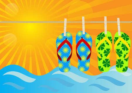 Summer Background - Hanging Flip-Flops on the Beach Stock Vector - 9811614