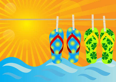 flip flops: Summer Background - Hanging Flip-Flops on the Beach