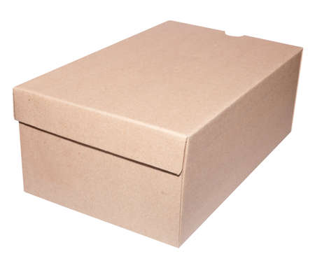 Brown Blank Cardboard Box Isolated on White - With Clipping Path Stock Photo - 9904100