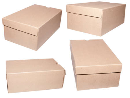 Set of Brown Blank Cardboard Boxes Isolated on White Stock Photo - 9904098