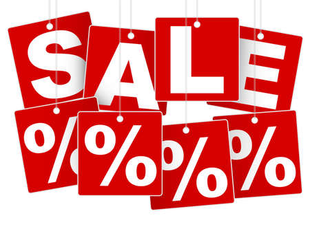 percentage sign: Sale Sign - White Save % on Red Background