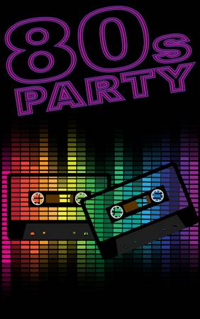 eighties: Retro Party Background - Retro Audio Cassette Tapes and Equalizer on Black Background Illustration