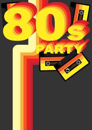 casette: Retro Party Background - 80s Sign and Audio Tape on Dark Grey Background