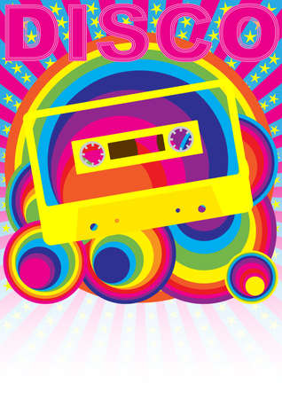 Retro Party Background - Audio Casette Tape and Disco Sign on Multicolor Background Vector