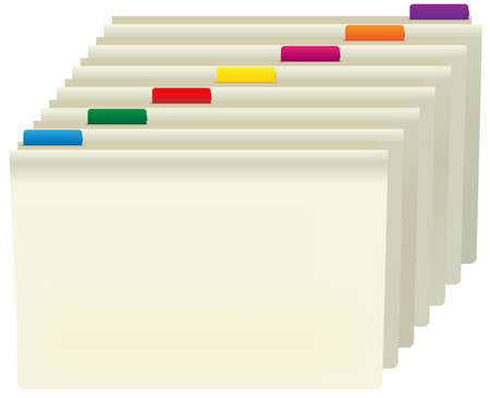 organised: Manila Folders With Color Labels Isolated on White Illustration