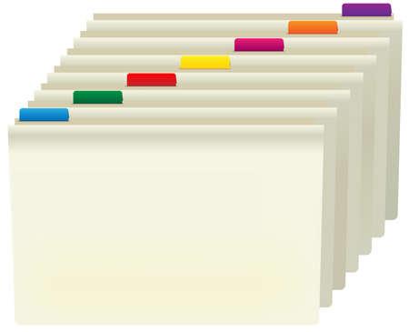 Manilla mappen met kleurlabels geïsoleerd op wit