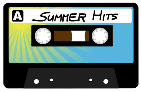 hits: Summer Hits - Retro Audio Cassette Tape Isolated on White Illustration