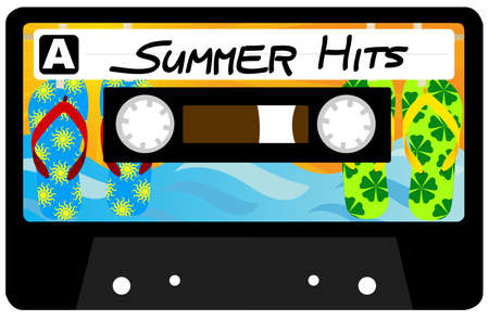 Summer Hits - Retro Audio Cassette Tape Isolated on White Vector