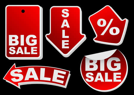 Collection of Various Red Isolated Sale Tags Stock Vector - 9904150