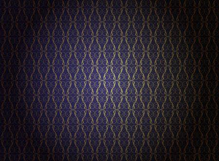 antiek behang: Vintage Wallpaper - gouden ornamenten op donker blauwe achtergrond